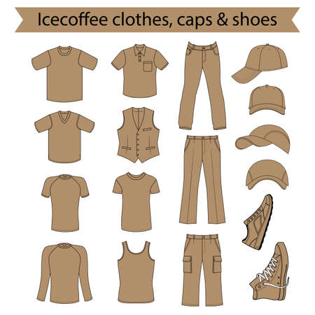 menswear: Menswear, headgear & shoes icecoffee season collection, vector illustration isolated on white background Illustration