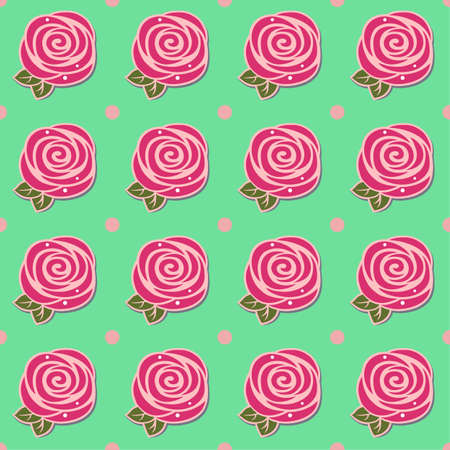 Attar: Flowers (stylized roses) seamless background isolated on green, vector illustration Illustration