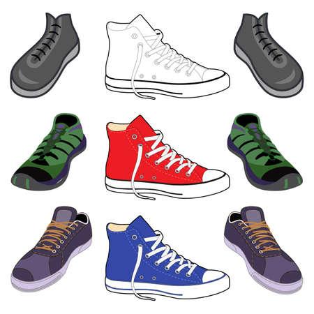 Nero delineate e colorate scarpe sneakers set vista frontale, illustrazione vettoriale isolato su sfondo bianco