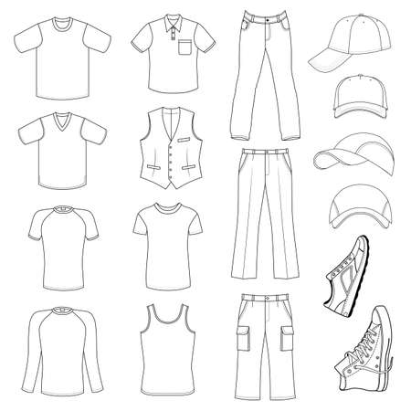 menswear: Outlined menswear, headgear & shoes season collection, vector illustration isolated on white background