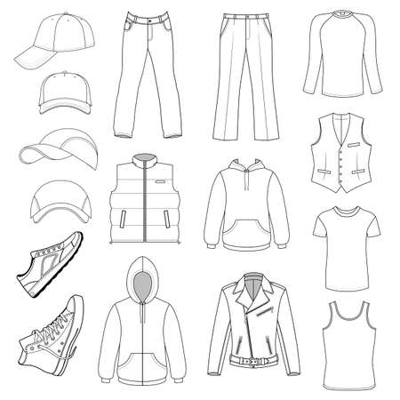 leather pants: Outlined menswear, headgear & shoes season collection, vector illustration isolated on white background