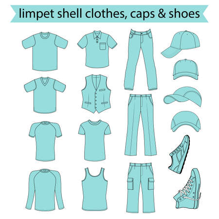 menswear: Menswear, headgear & shoes limpet shell color season collection, vector illustration isolated on white background