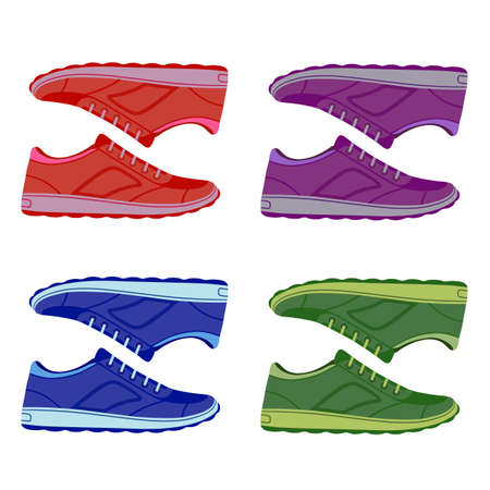 suede: Pair unisex colored suede sneakers shoes side view, vector illustration isolated on white background