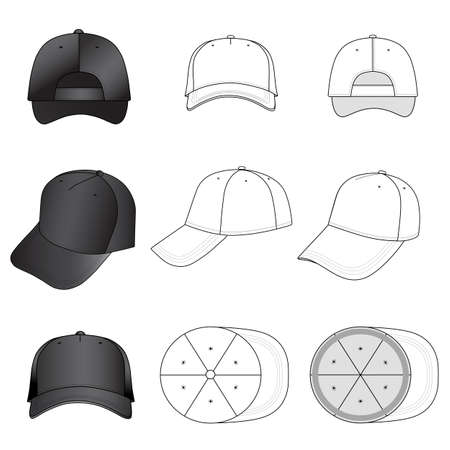 brim: Baseball, tennis cap set illustration featured front, back, side, top, vector illustration isolated on white background