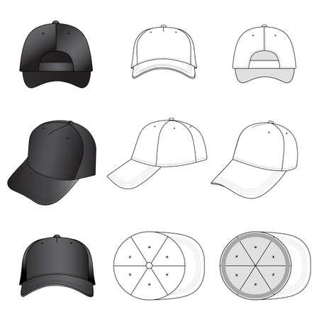 featured: Baseball, tennis cap set illustration featured front, back, side, top, vector illustration isolated on white background
