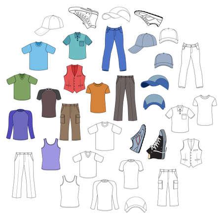Esbozado y ropa de hombre de color, tocados y zapatos colección de temporada ilustración vectorial aislados en fondo blanco