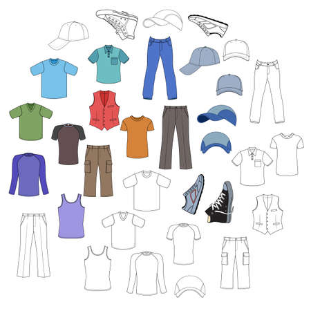 menswear: Outlined & colored  menswear, headgear & shoes season collection, vector illustration isolated on white background