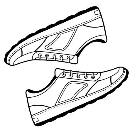 unisex: Pair unisex black outlined sneakers shoes side view, vector illustration isolated on white background