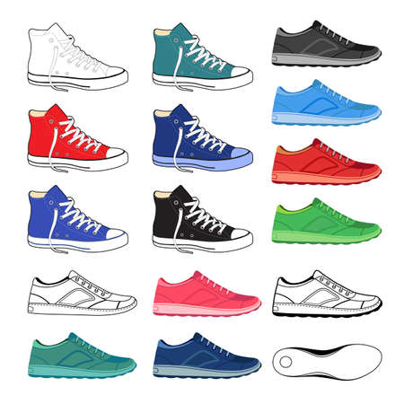 outlined isolated: Black outlined & colored sneakers shoes set side view, vector illustration isolated on white background