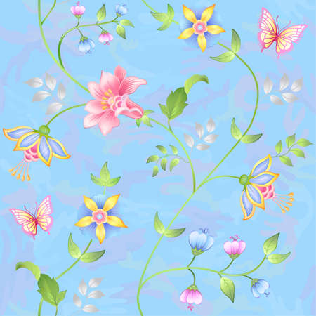 modest fashion: Decor floral elements seamless set isolated on camo blue background (vector illustration)