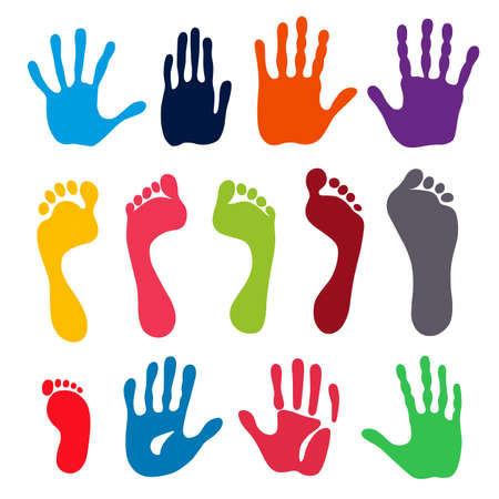 flatfoot: Vector illustration colored generation hand and foot prints isolated on white background. Created in Adobe Illustrator. EPS 8.