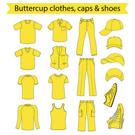 leather pants: Menswear, headgear & shoes buttercup season collection, vector illustration isolated on white background
