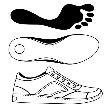 sole: Black outlined sneakers shoe & sole, vector illustration isolated on white background