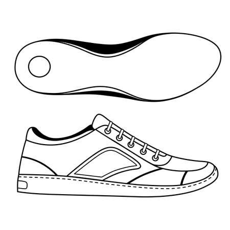 lijntekening: Black geschetst sneakers schoen en tong, vector illustratie op een witte achtergrond