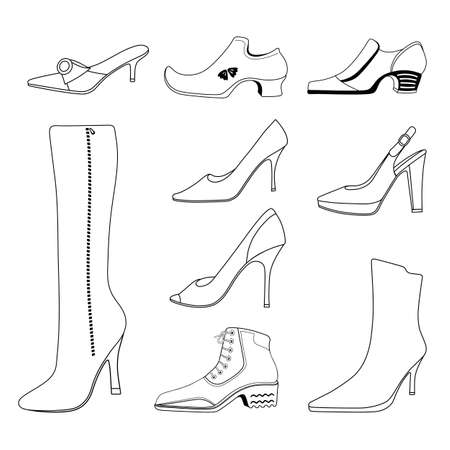 outlined isolated: Outlined man & women shoes set, vector illustration isolated on white background