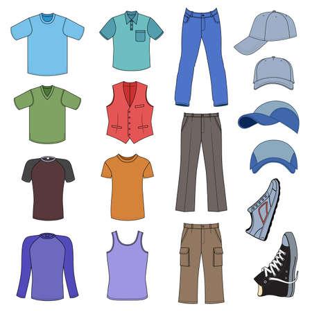 Ropa de caballero, tocados y zapatos de color colección de temporada, ilustración vectorial aislados en fondo blanco