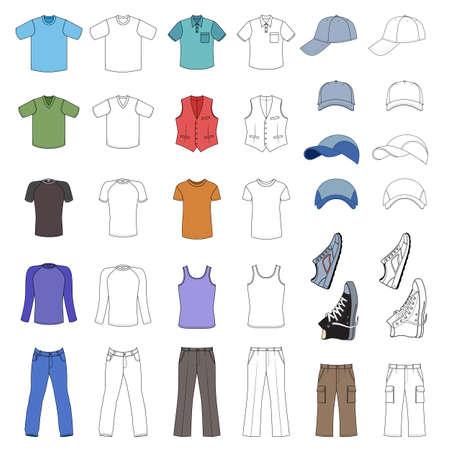Esbozado y ropa de hombre de color, tocados y zapatos colección de temporada ilustración vectorial aislados en fondo blanco Ilustración de vector