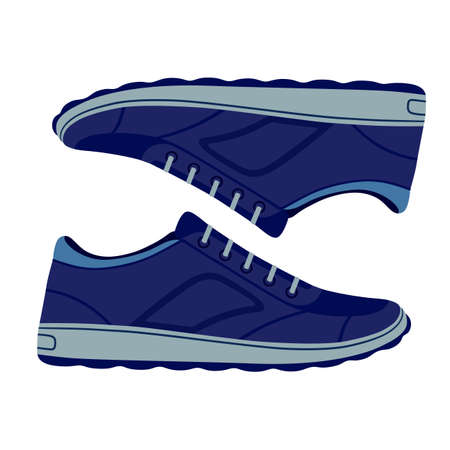 unisex: Pair unisex blue suede sneakers shoes side view, vector illustration isolated on white background Illustration