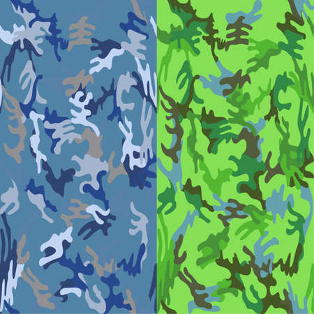docking: Camouflage seamless sea water & tropic spots pattern background set, vector illustration