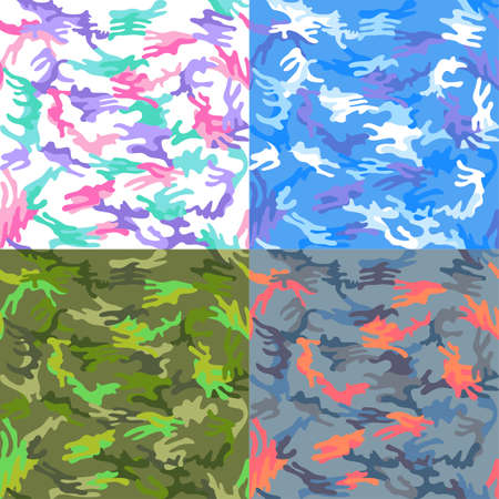 docking: Camouflage seamless spots pattern background set, vector illustration