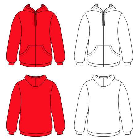 sueter: Suéter (frontal y vista posterior esbozado) ilustración vectorial. EPS8 archivo disponible. Puede cambiar el color o usted puede añadir su logotipo fácilmente.