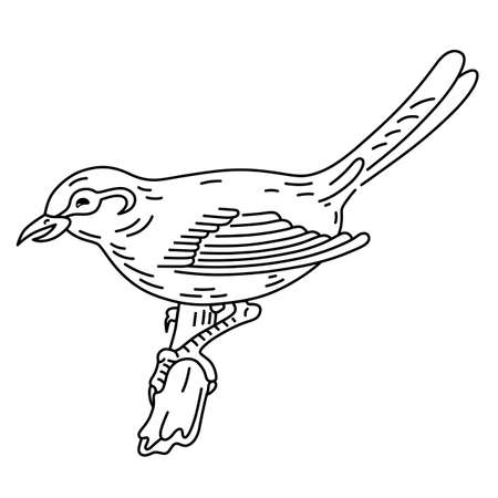flit: Bird sitting on a branch, vector illustration isolated on background