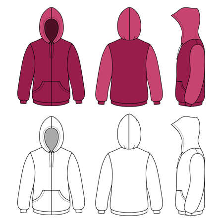cowl: Hoodie sweater template (front, side & back outlined view) vector illustration. EPS8 file available. You can change the color or you can add your logo easily.
