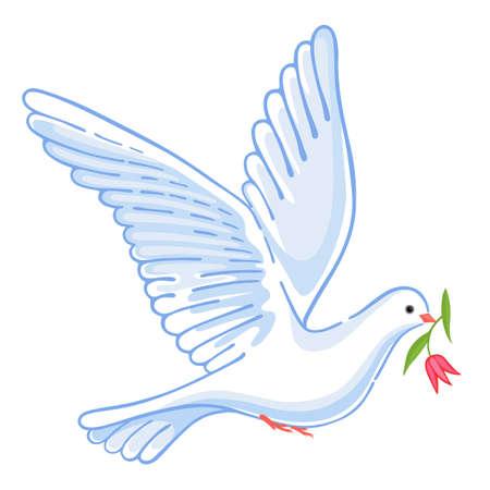 Soaring dove met bloem, vector illustratie geïsoleerd op achtergrond Stock Illustratie