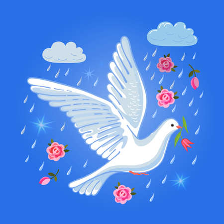 flit: Soaring dove with flower in the clouds, vector illustration isolated on blue sky background Illustration