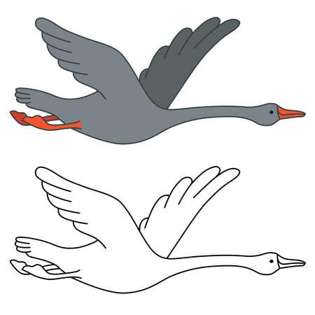Soaring goose, vector illustration isolated on white background Illustration