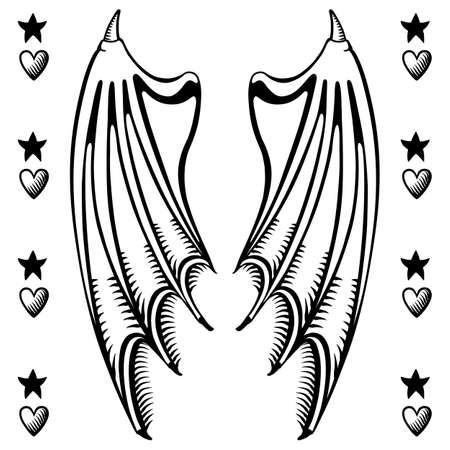 fiend: Vector illustration of devils wings isolated on white background, vector illustration. T-shirt design
