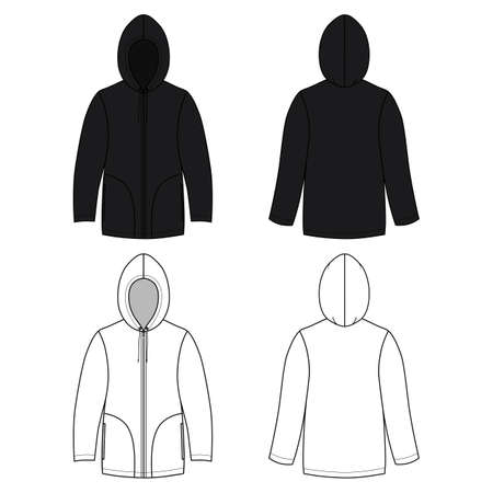 cowl: Hoodie black leather sweater (front & back outlined view) vector illustration. EPS8 file available. You can change the color or you can add your logo easily.