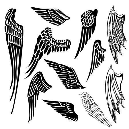 tatouage ange: Ailes définir silhouette linéaire isolé sur fond blanc, illustration vectorielle Illustration
