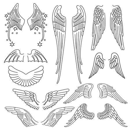 tatouage ange: Ailes définir silhouette linéaire isolé sur fond, illustration vectorielle