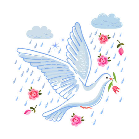 to flit: Soaring dove with flower in the clouds, vector illustration isolated on white background