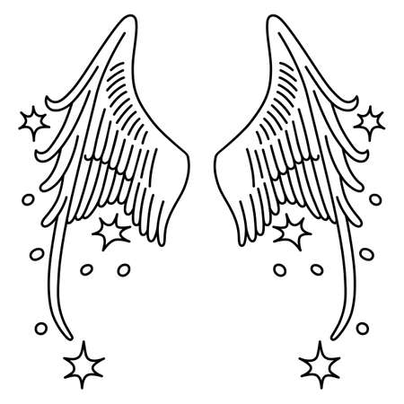 Starred angel wings set linear silhouette isolated on background, vector illustration