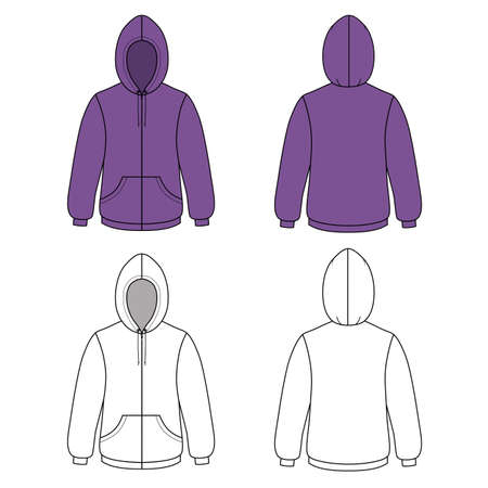 cowl: Hoodie sweater (front & back outlined view) vector illustration. EPS8 file available. You can change the color or you can add your logo easily.