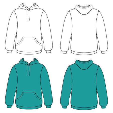 hooded sweatshirt: Hoodie sweater (front & back outlined view) vector illustration. EPS8 file available. You can change the color or you can add your logo easily.