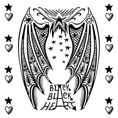 Illustrazione vettoriale di ali del diavolo isolato su sfondo bianco, illustrazione vettoriale. T-shirt design Vettoriali