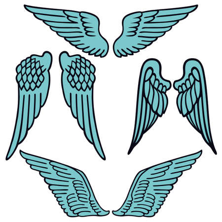 animal angelic: Angel wings linear set silhouette isolated on background, vector illustration Illustration