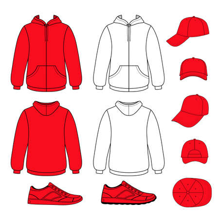 garment: Unisex hoodie, cap, sneakers set vector illustration. EPS8 file available. You can change the color or you can add your logo easily. Illustration