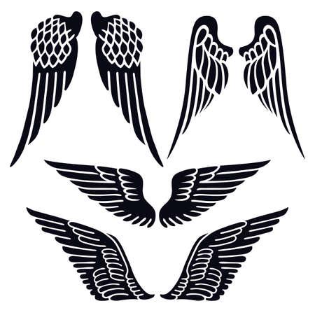 tatouage ange: Ailes d'ange fixés silhouette isolé sur fond, illustration vectorielle