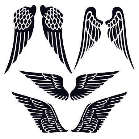 tattoo wings: Angel wings set silhouette isolated on background, vector illustration
