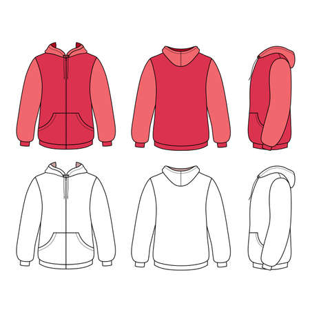 cowl: Hoodie sweater template (front, side & back outlined view) vector illustration. Illustration
