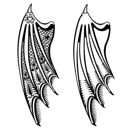 fiend: Devils wings set isolated on white background, vector illustration
