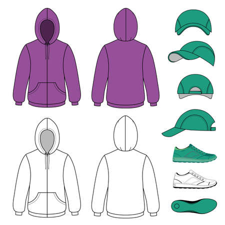unisex: Unisex hoodie, cap, sneakers set vector illustration. EPS8 file available. You can change the color or you can add your logo easily. Illustration