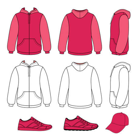 cowl: Unisex hoodie, cap, sneakers set vector illustration. EPS8 file available. You can change the color or you can add your logo easily. Illustration