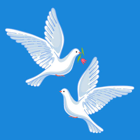 Soaring doves with flower, vector illustration isolated on background Illustration