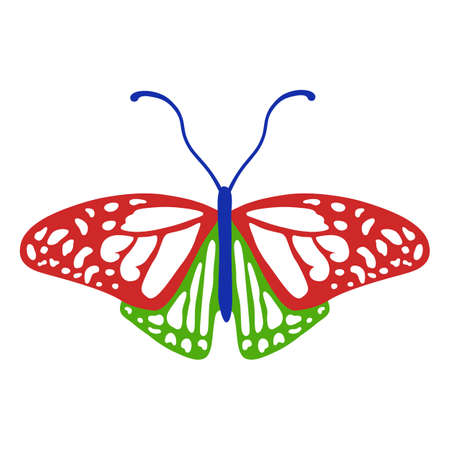 antennae: Colored butterfly logo, vector illustration isolated on background Illustration