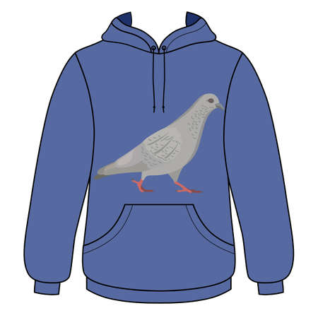 cowl: Going gray pigeon hoodie sweater (front view) vector illustration. EPS8 file available. Illustration
